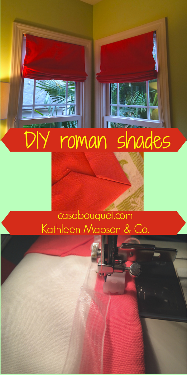 """Roman shades give a crisp tailored look. Add blackout lining for practicality. If you have a sewing machine and would like to try making fabric items for your home, check out my """"Home-making""""posts."""
