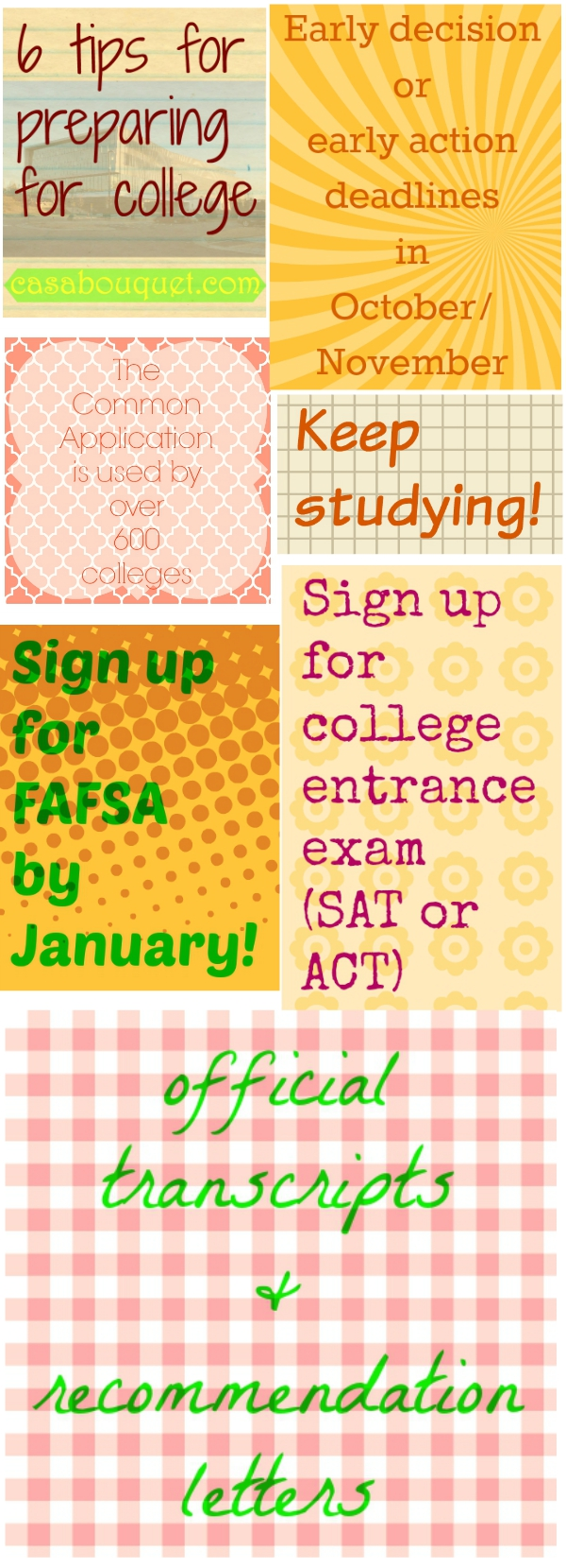 College preparation at the end of high school includes planning, tips, and checklists. Entrance tests, applications, financial aid, and more!