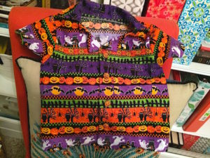 Halloween shirts are made as matching shirts for grandpa and grandson. Sewing Aloha shirts can be done with detailed or simple prints.