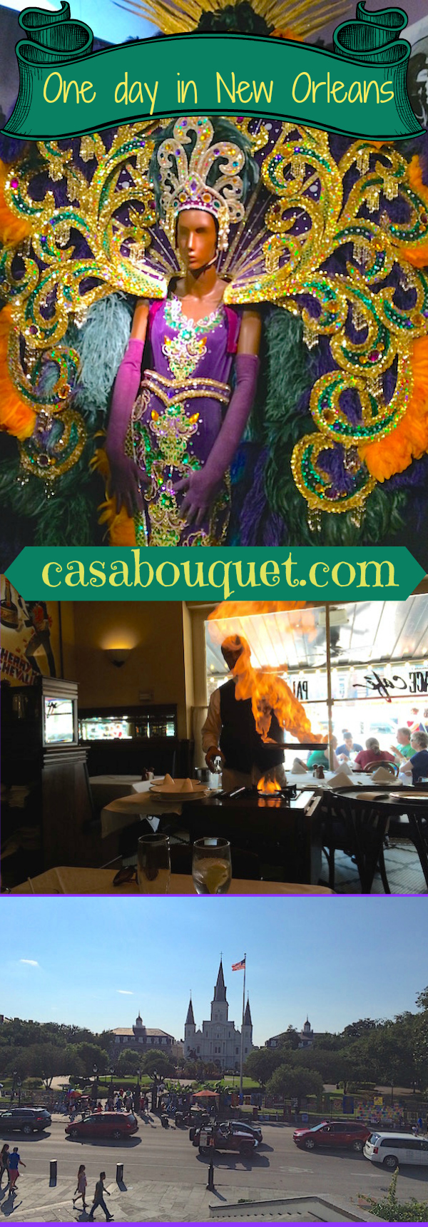 The French Quarter in New Orleans, Louisiana can be a great day trip. One day in New Orleans includes sights, Cajun and Creole food, and cocktails!