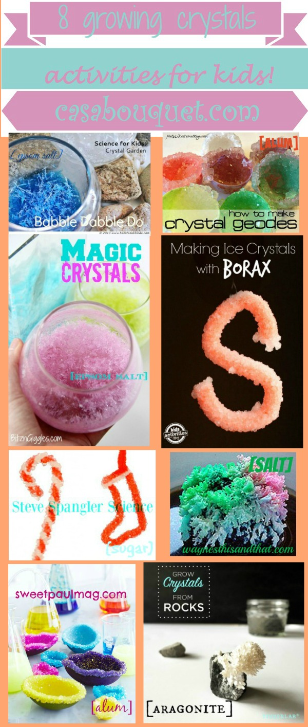 Growing crystals teach crystal structure and saturated solutions. 8 examples of how to grow crystals and experiment are provided.