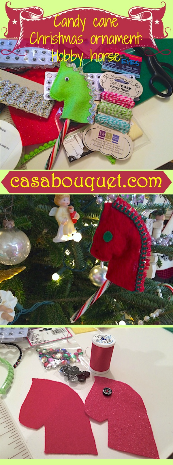 Candy cane Christmas ornament is a hobby horse made with felt and candy canes. Have fun being creative with trims!