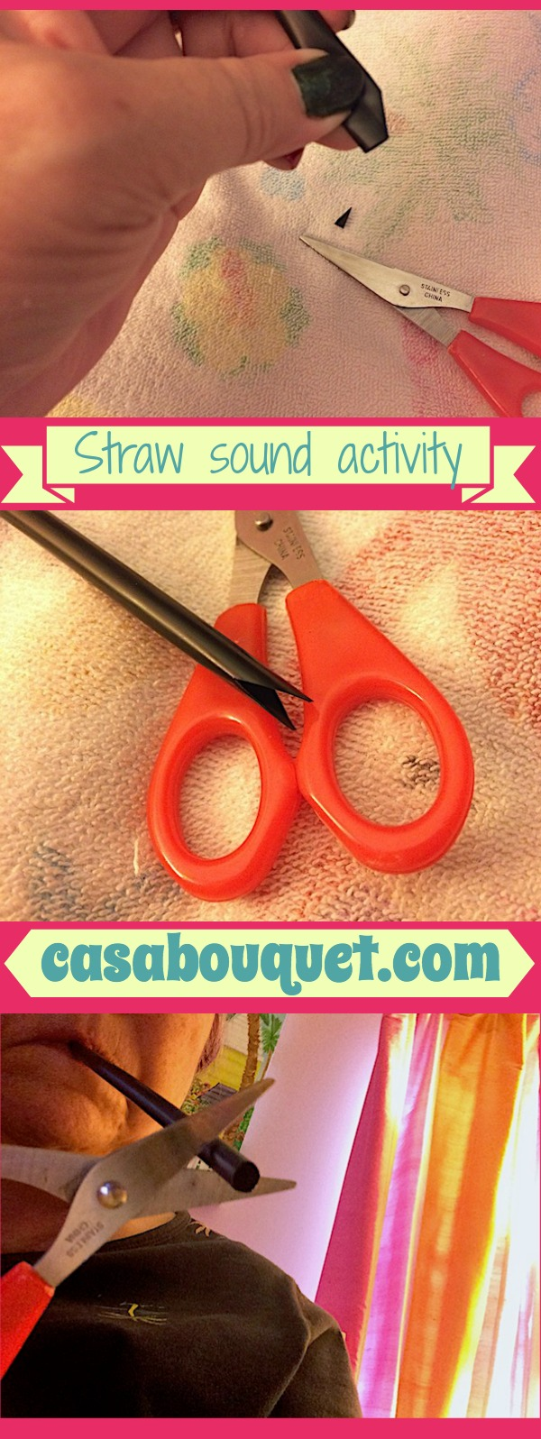 Straw sound activity uses large plastic straws to work as wind instrument. Kids learn sound, waves, frequency!