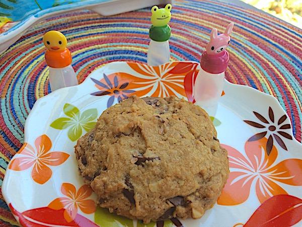 Dark chocolate chip cookies with orange, oatmeal, walnuts