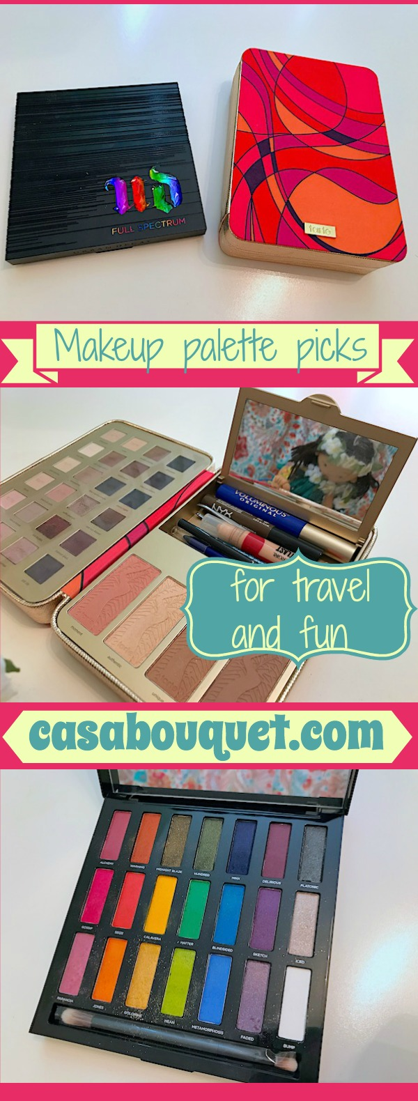Makeup palette beauty buy picks for eyes and face. I'm sharing my travel choice (Tarte) and summer brights choice (Urban Decay).