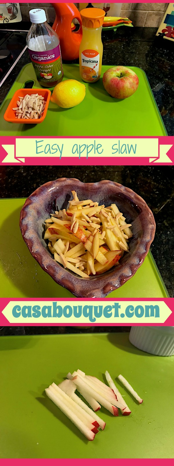 Easy apple slaw uses lemon and orange juice for tart flavor. Fall favorite with firm apples. Dairy free, gluten free, egg free, and soy free. Almonds add crunch.